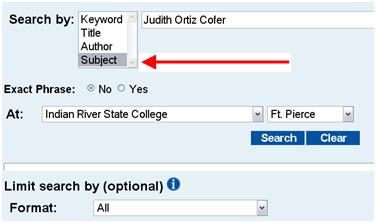 Example Subject Search