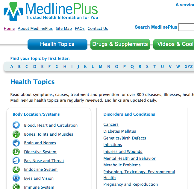 MedlinePLUS Health Topics main page