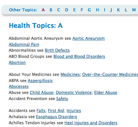 Health Topics by alphabetical listing