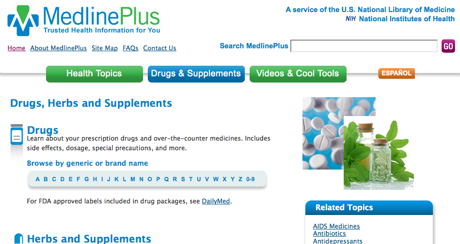 Drugs & Supplements homepage
