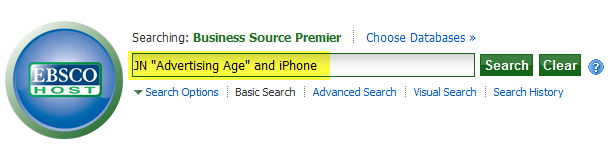EBSCOhost Business Source Ad Age Search