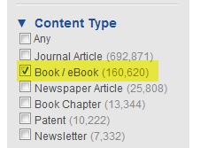 Under Content - Refine by books/eBooks