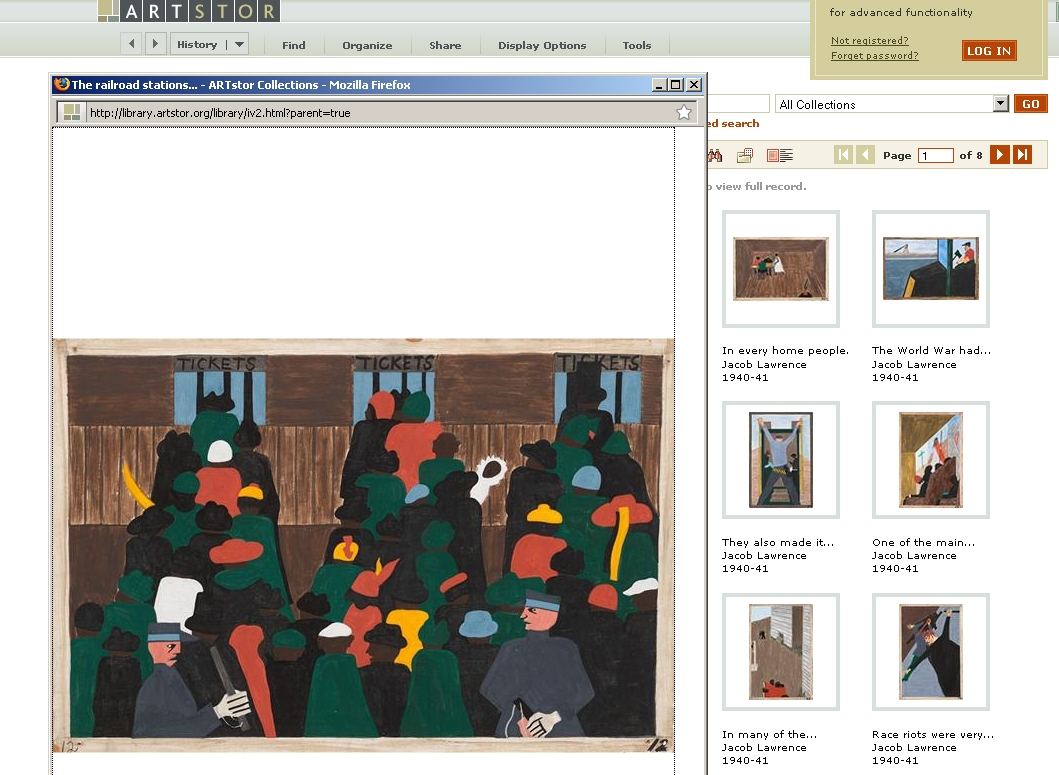 Front page of database ARTstor