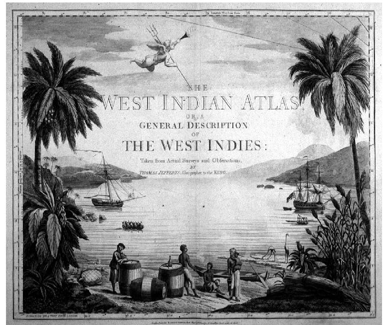 Title page from The West Indian Atlas or a General Description of the West Indies.  The page depicts a palm tree lined harbor with a couple of sailing ships and several persons on the shore.