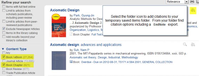 "Screenshot of Summon search for ""Axiomatic Design"""