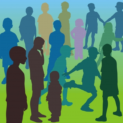 Image: coloured silhouettes of people
