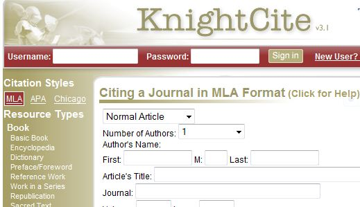 screenshot of Knightcite citation generator