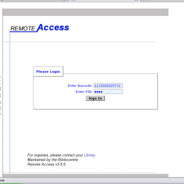 Screenshot of remote access login authentication
