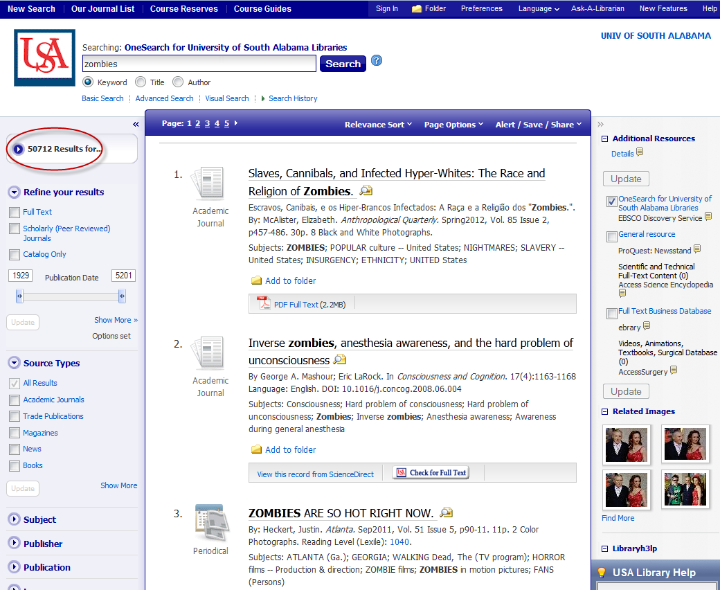 OneSearch results screen with number of results highlighted