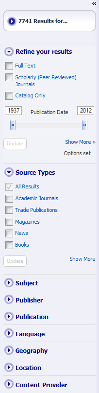 screenshot of left column containing search results limit options