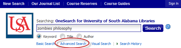 OneSearch search box with advanced search link highlighted