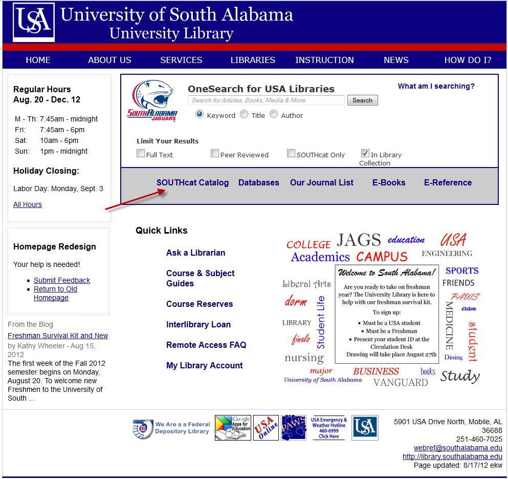 screenshot of library homepage with SOUTHcat link highlighted