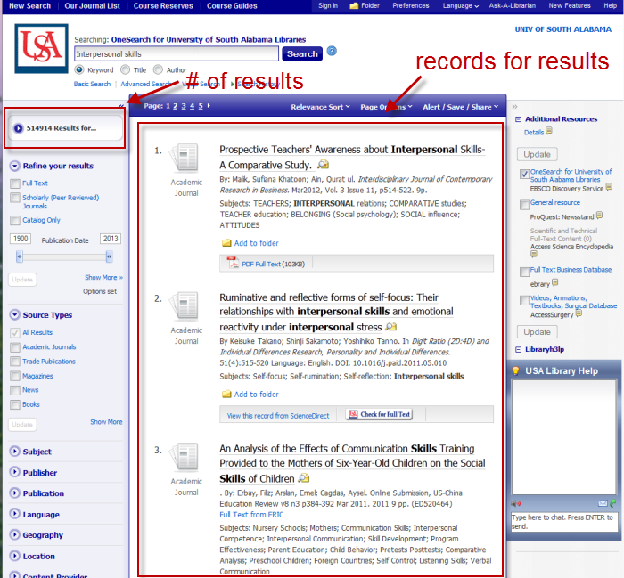 OneSearch results screen with number of results, results records highlighted