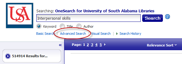Advanced Search link highlighted