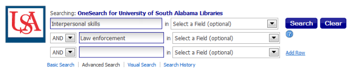 Advanced search interface with two search terms entered