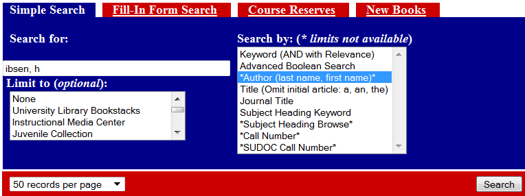 screenshot of a SOUTHcat search by author for &quot;Ibsen, H&quot;