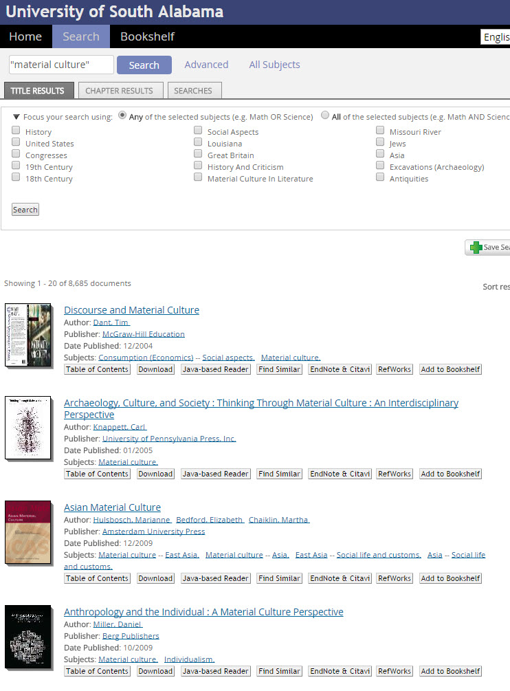 screenshot of Ebrary result screen