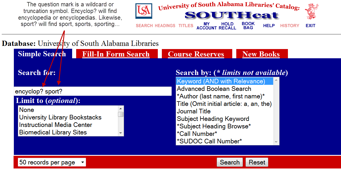 Screenshot of a SOUTHcat search for subject-specific encyclopedia with explanation of wildcard symbol