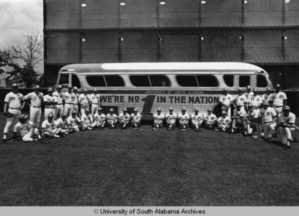 This photograph shows the University of South Alabama's baseball team, the Jaguars, the year they were number one in the nation. They finished the season with a winning percentage of.818 and a record of 36 and 8.