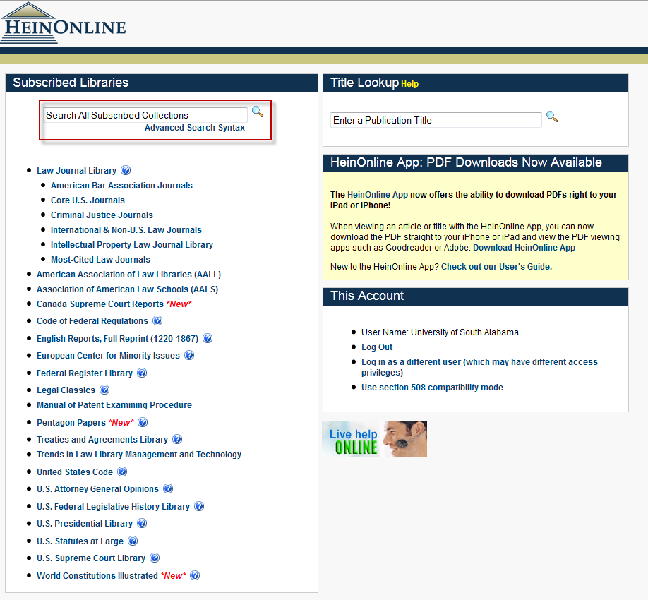 screenshot of HeinOnline search screen
