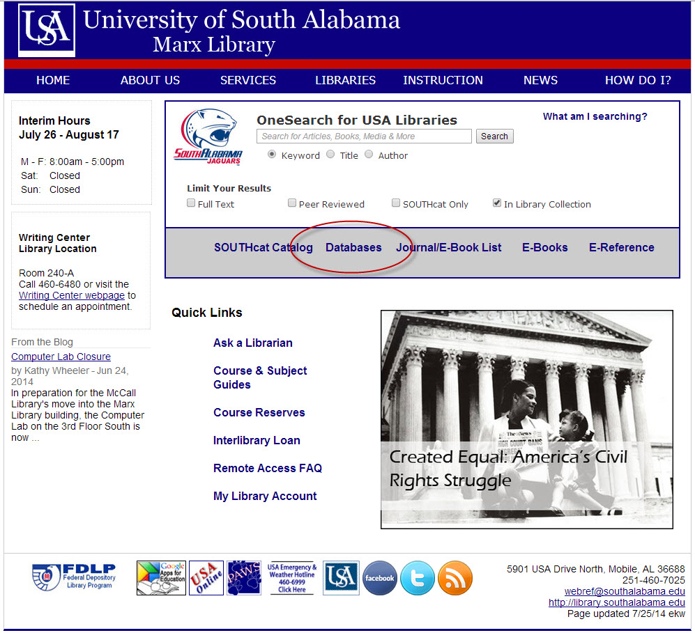 Marx Library homepage with databases link highlighted
