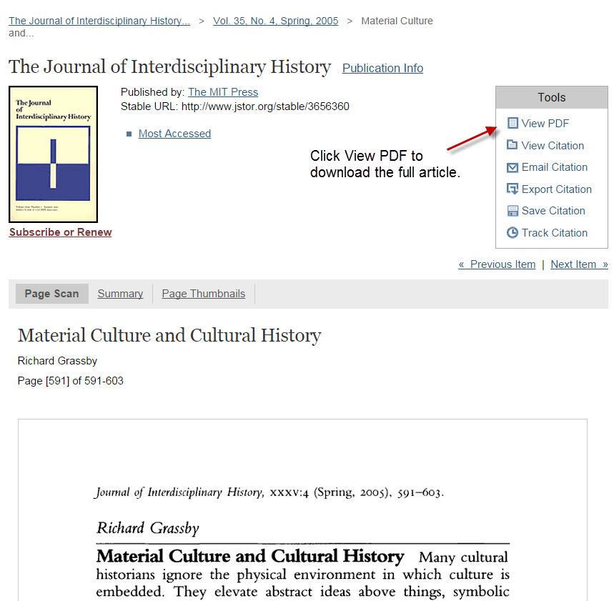 screenshot of JSTOR result page