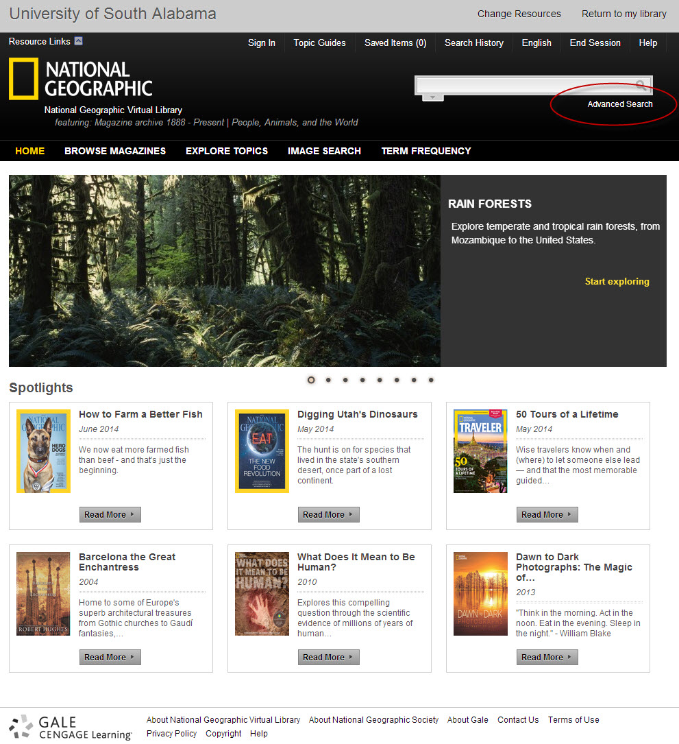 National Geographic home screen with advanced search link highlighted