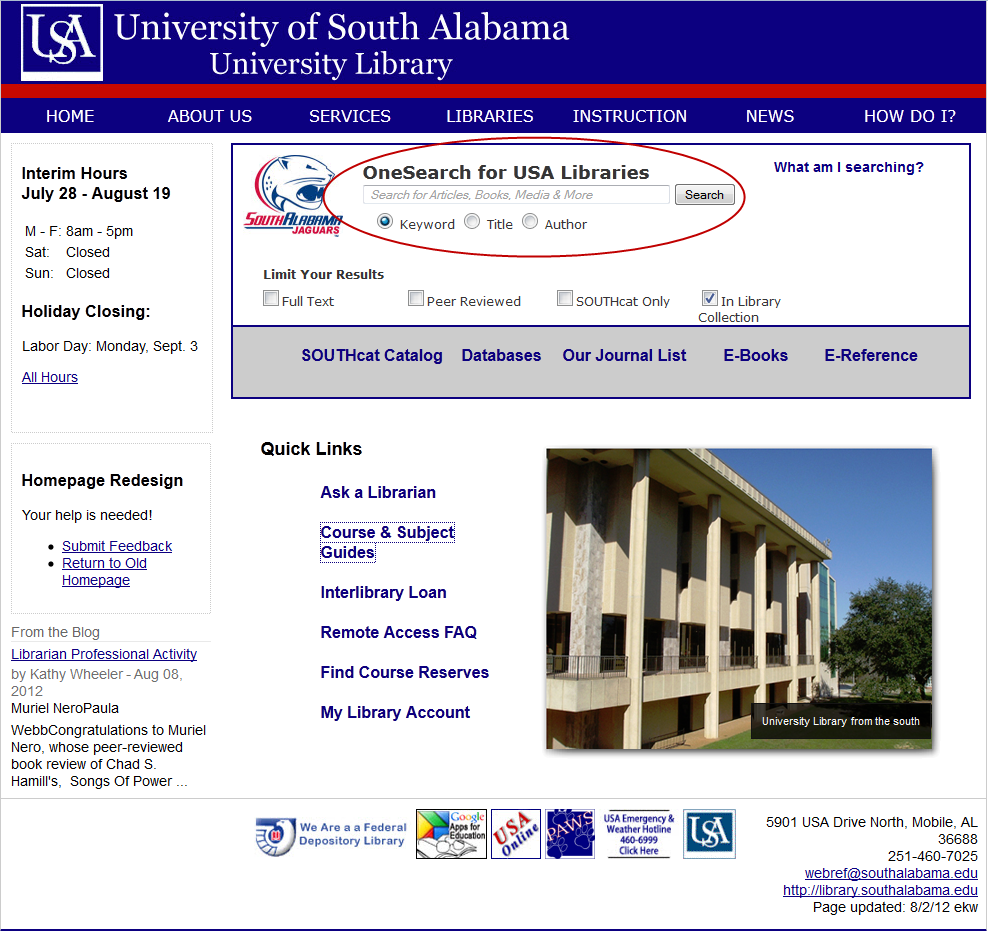 screenshot of the Marx Library homepage with the OneSearch box highlighted