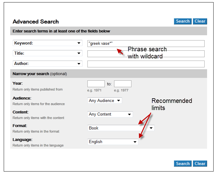 screenshot of the public WorldCat advanced search screen