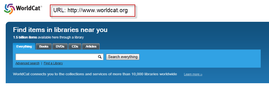 screenshot of the public WorldCat default search screen