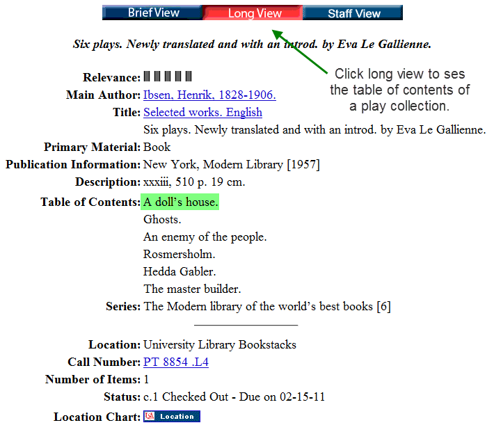 screenshot of the long view of a catalog record, showing the table of contents field