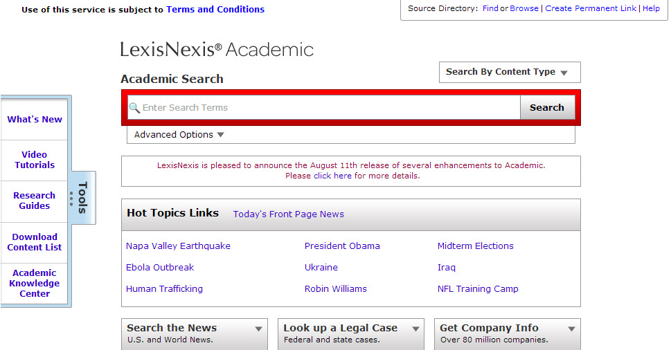 Lexis-Nexis Search screen