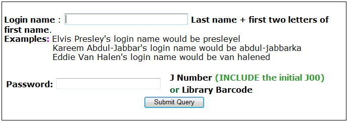 University Library Login Screen