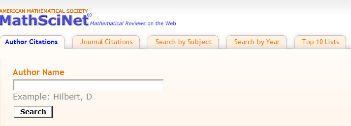 MathSciNet Citation Search screen
