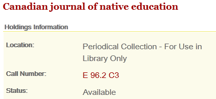 Image showing location and call number of print journal