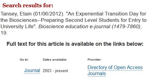 Image showing access to article via a link to the journal