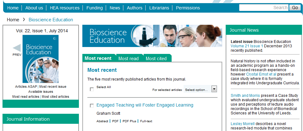 Image showing webpage for journal called Bioscience Education