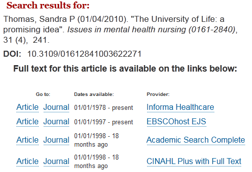 Image showing MRU access options for article