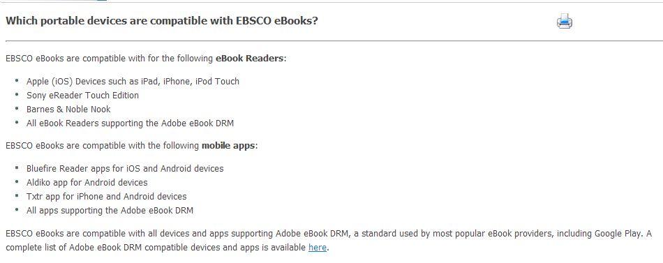 EBSCO ereader information