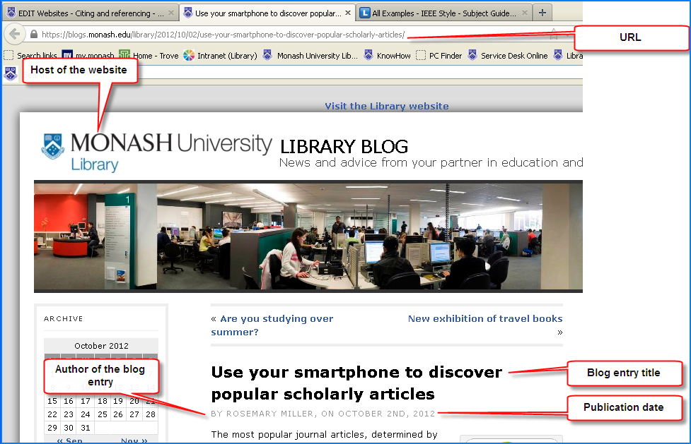 Screen shot of a blog showing citation elements