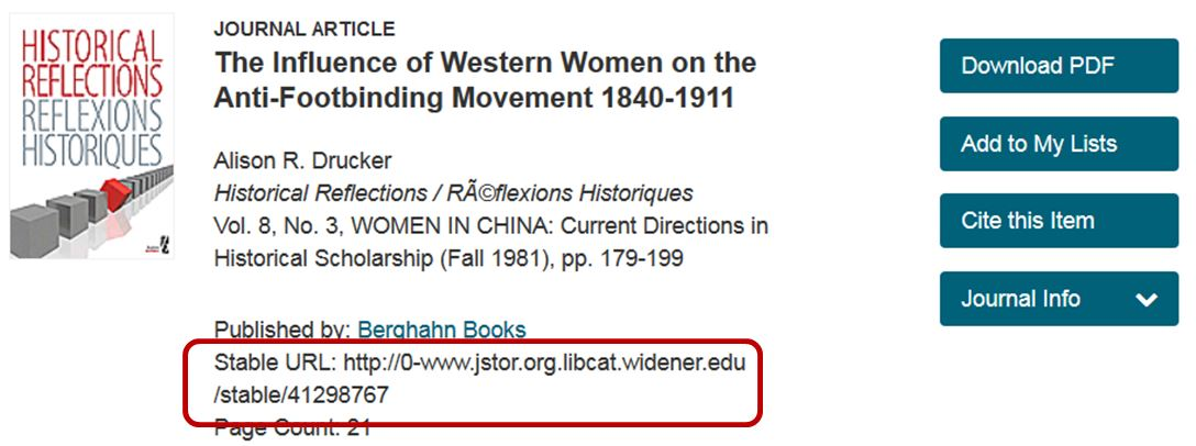 JSTOR record with stable URL highlighted