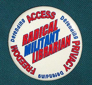 radical militant librarian button (image from ala.org)