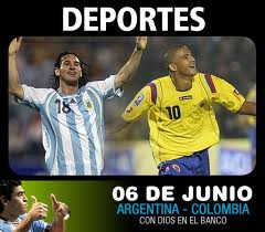 A soccer match up between Columbia and Argentina