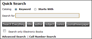 Library catalog quick search bar