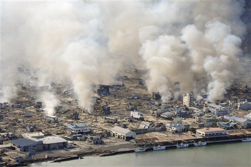 Shimizu, Kenji (2011). This March 12, 2011 file photo shows smokes rising from burning homes in Yamadamachi in Iwate Prefecture, northern Japan a day after a strong earthquake triggered a devastating tsunami in the area. Yamadamachi, Japan: Associated Press.