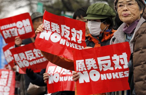 Kambayashi, Shizuo (2015). Anti-nuclear protesters hold placards during a rally in front of the Diet building in Tokyo, Sunday, March 8, 2015. Tokyo, Japan: Associated Press.
