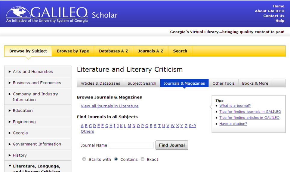 Screenshot showing the browse by subject option for viewing GALILEO content