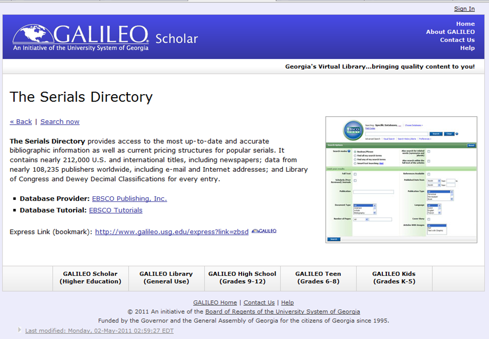 Screenshot showing The Serials Directory listing in GALILEO