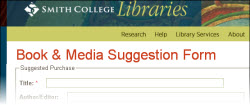 Libraries' Book & Media suggestion form