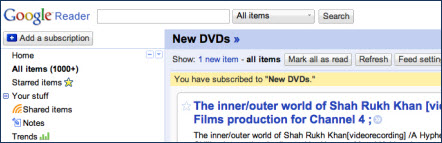 sample DVD alert using Google Reader
